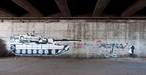 Ganzeer's infamous tank and bicycle under the 6th of October flyover. My favourite by far. All photos taken with Nikon D90.