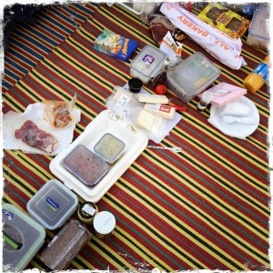 Lunchtime! Picnic by the pyramids.