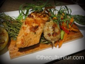 The cedar plank salmon...um, yes please.