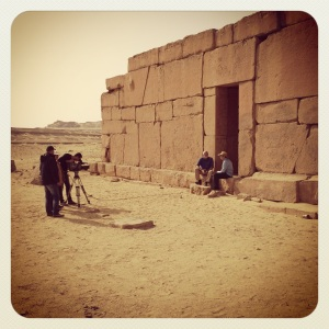 Perhaps an episode of National Geographic being filmed? At Qasr El Sagha.