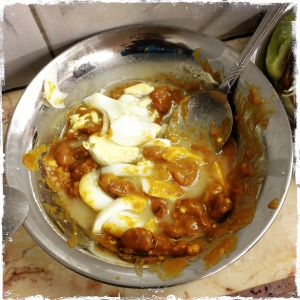 Protein central: It might look suspect, but this is so damn good. Ful medames with tahina and a boiled egg on top.