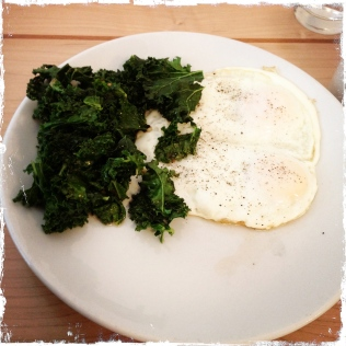 My fried eggs with kale (I shunned the toast). Yum, and then some.