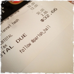 The bill for two. Including drinks. Not bad.